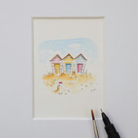 Miniature Watercolour Seaside Painting  5 cm x 5.5 cm