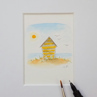 Miniature Watercolour Seaside Painting 'By the Sea'  5.5 cm x 5.5 cm