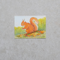 Original Watercolour ACEO 'Autumn Squirrel'