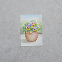 Original Watercolour ACEO  'Pansy Flower Pot'