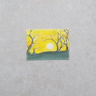 Original ACEO - 'Sunset and trees'