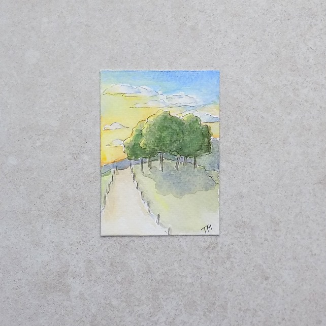 SALE   Original watercolour ACEO - 'Sunset trees'