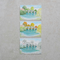 Aceo original paintings 'Bridge Seasons'  (set of three)