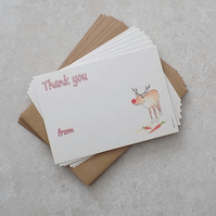 Christmas Thank you's Rudolph (pack of 6)