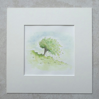 "Watercolour Illustration 'Tree Hill' (Mount size 10"" x 10"")"