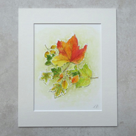 "Original Watercolour Painting 'Autumn Colour' (Mount size 12"" x 12"")"