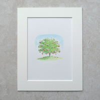 Original Watercolour Illustration  'Apple Tree'