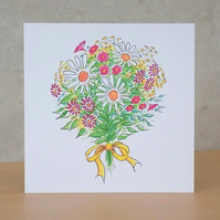 White Ecofriendly  Blank Flower Bouquet Card