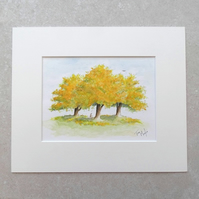 "Original Watercolour Painting  'Autumn' (Mount size 12"" x 10"")"