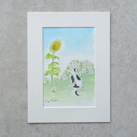 "Original Illustration 'Summer Cat' (Mount size 8"" x 6"""
