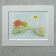 Original Watercolour Illustration  ' Happy Fish '