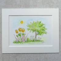 Original Watercolour Illustration 'Summer Garden'