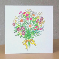 Mother's Day Card Flower Bouquet