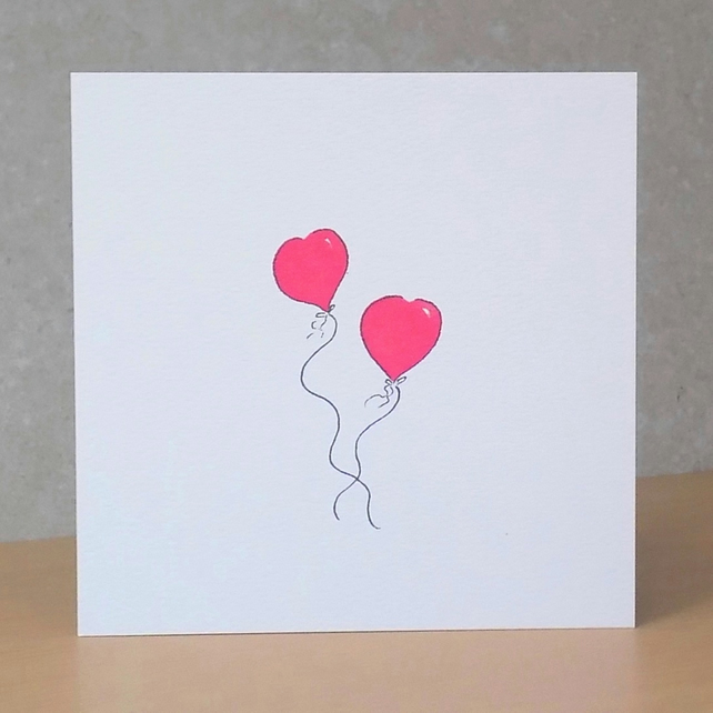 Valentine's Card Heart Balloons