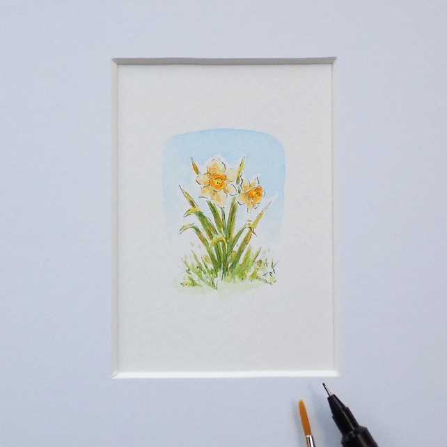 Miniature Watercolour Flower Painting Daffodils (3.5cm x 4.5cm)