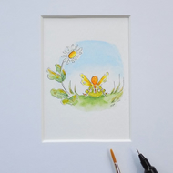 Miniature Watercolour Fairy Painting 'Day Dreaming' (5.5cm x 5cm)