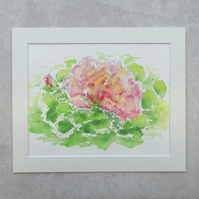 "Original  'Pink Rose' Watercolour Painting (Mount size 12"" x 10"")"