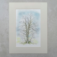 "Original Watercolour Illustration 'Winter Chestnut Tree' (Mount size 16"" x 12"")"