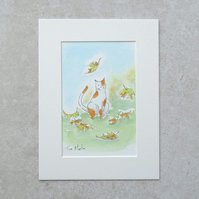 "Original Illustration 'Autumn Cat' (Mount size 8"" x 6"""