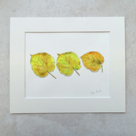 "Original Watercolour 'Golden Leaves' (Mount size 12"" x10"")"