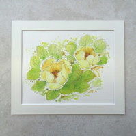 "Original  'Yellow Peony' Watercolour Painting (Mount size 12"" x 10"")"