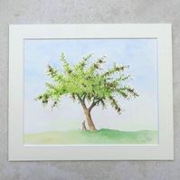 "Original Watercolour Painting 'Plum tree'  (Mount size 12"" x 10"")"