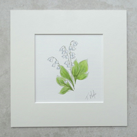 "SALE     Original  'Lily of the Valley' Watercolour (Mount size 10"" x 10"")"