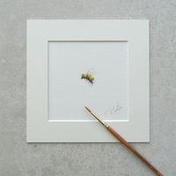 "Original 'Bumble Bee' Watercolour Illustration (Mount size 6"" x 6"")"
