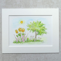 "Original Watercolour Illustration 'Summer Garden' (Mount size 9"" x 7"")"