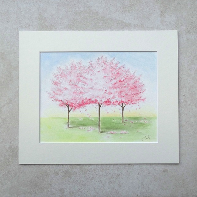 "Original  'Blossom Trees'  Watercolour Painting (Mount size 12"" x 10"")"