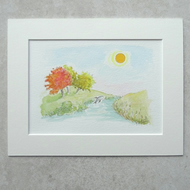 "Original Watercolour Illustration  ' Happy Fish ' (Mount size 9"" x 7"")"