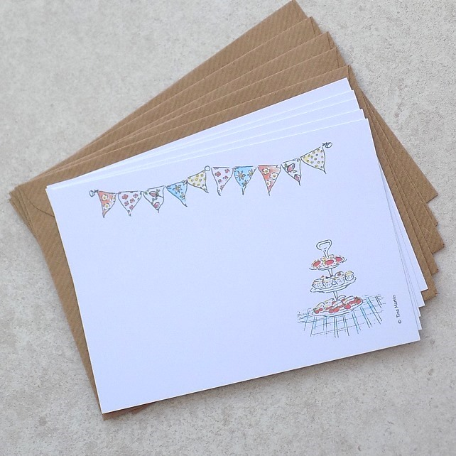 Pack of 5 Postcards - Tea Party Bunting