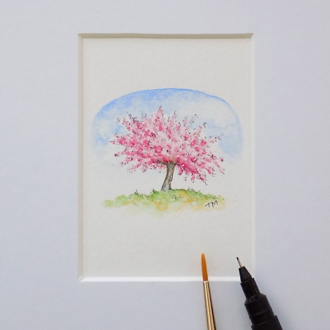 Original Miniature Watercolour 'Cherry Blossom Tree' (5.5cm x 5cm)