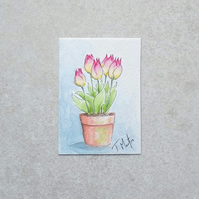Original Watercolour ACEO 'Tulips'