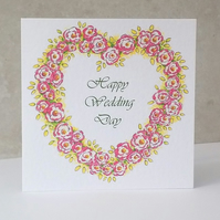 Wedding Card Rose Heart - Personalised option available