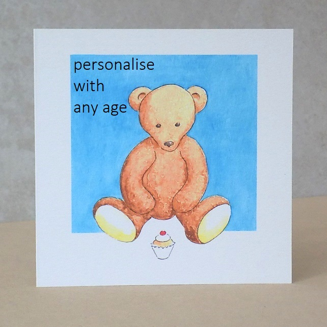Teddy Bear Age Card - Printed with any age