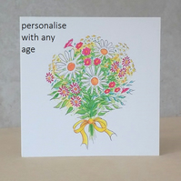 Age Birthday Card Flower Bouquet - Printed with any age