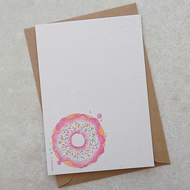 Eco Friendly Pink Doughnut Postcards  (pk of 6)