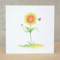 Blank Card Sunflower Garden