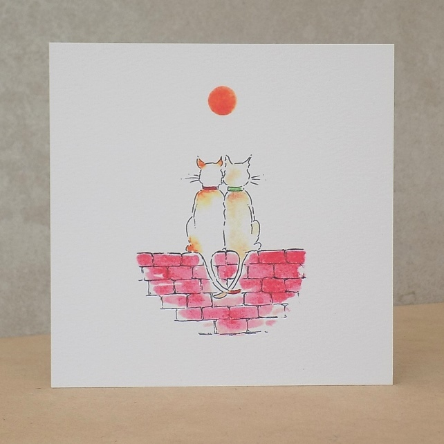 Eco Friendly blank Cat Anniversary or Engagement Card