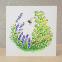 Eco-Friendly Card Lavender Bee - Blank