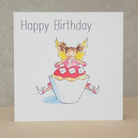 Eco-friendly Birthday Card Fairy Cake - Personalised option available