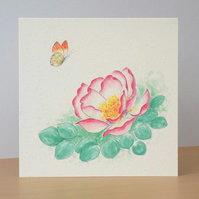 Eco-friendly Card Butterfly Rose - Blank