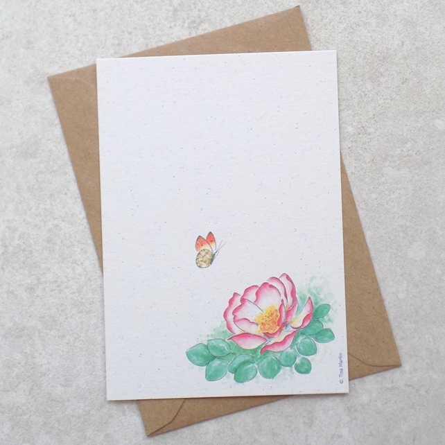 Eco Friendly Butterfly Rose Postcards (pack of 6)