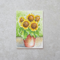 Original Watercolour ACEO  'Sunflower Pot'