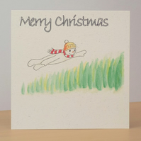 Christmas Card eco Flying Snowman