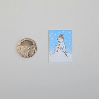 Christmas Miniature Watercolour Illustration 'Snowman Umbrella'
