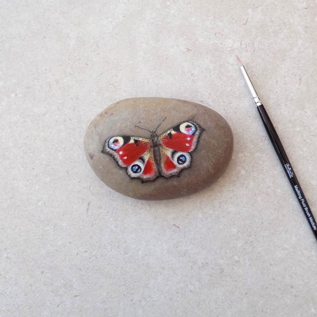 Painted Stone 'Peacock Butterfly'