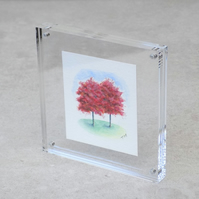 Miniature Watercolour Painting 'Purple Beech Trees'  (6cm x 7cm)