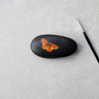 Painted Stone 'Pearl Fritillary' Butterfly